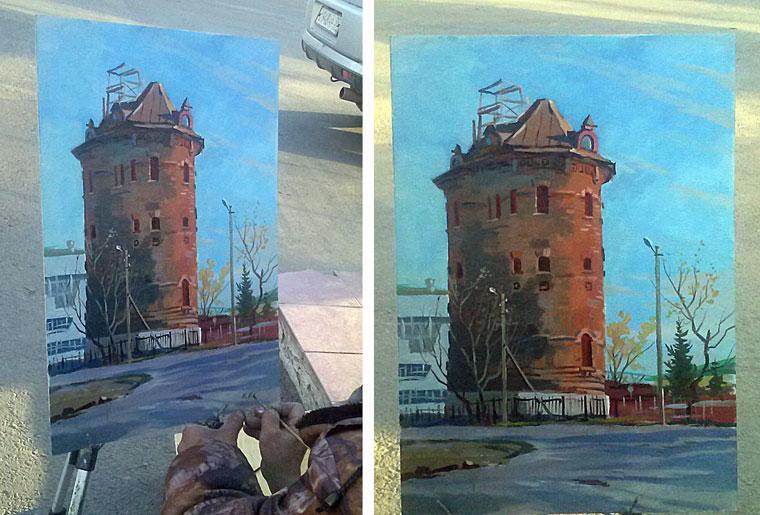 Городские картинки. Художник из Кузбасса с натуры рисовал водонапорную башню