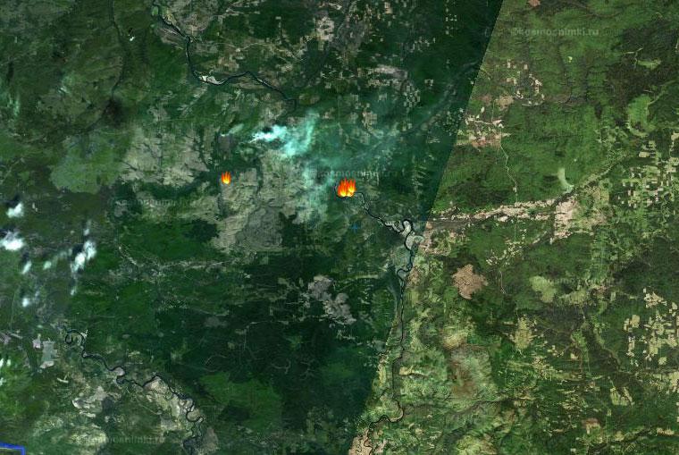 10 га горят на севере Тайшетского района. Скриншот с сайта fires.kosmosnimki.ru.