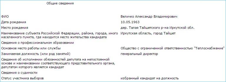 Скриншот с сайта Избирательной комиссии Иркутской области.