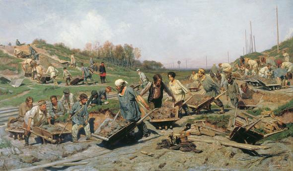 Картина Константина Савицкого «Ремонтные работы на железной дороге», 1874 год
