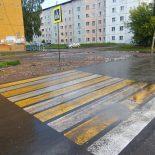 Возле школы №5 в Тайшете нарисовали пешеходный переход