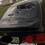 В Хакасии сильный град побил стёкла автомобилей и крыши домов